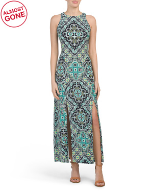 Fancy Feather Medallion Maxi Dress