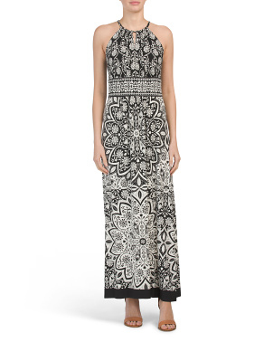Rosette Medallion Printed Maxi Dress