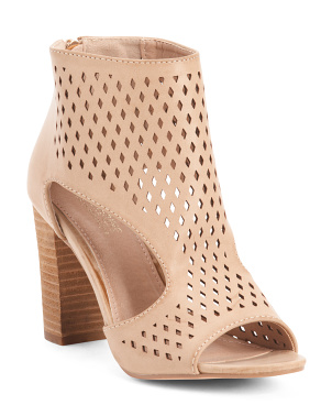 Peep Toe Stacked Heel Sandals