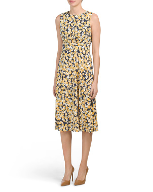 Scattered Petals Printed Jersey Midi Dress