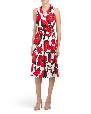 Poppy Floral Printed Sateen Midi Dress