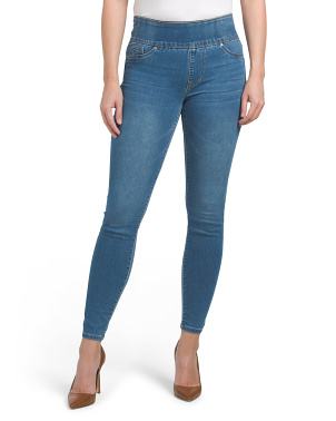 High Waist Knit Denim Pull On Skinny Jeans
