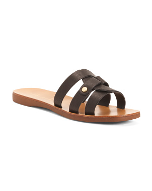 Made In Italy Cross Leather Slide Sandals