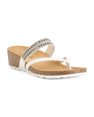 Made In Italy Mid Wedge Bling Sandals