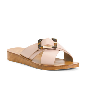 Made In Italy Tortoise Buckle Cross Band Leather Sandals