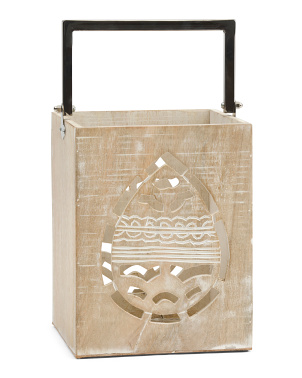 10in Wooden Lantern With Egg Cutout