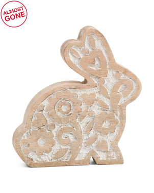 8.5in Floral Bunny Decor With White Wash
