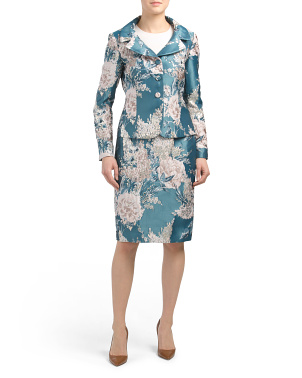 4 Button Jacquard Jacket & Skirt Set
