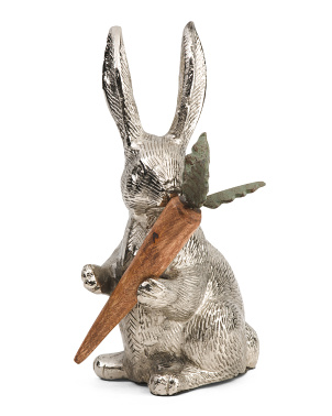 11in Bunny With Wooden Carrot