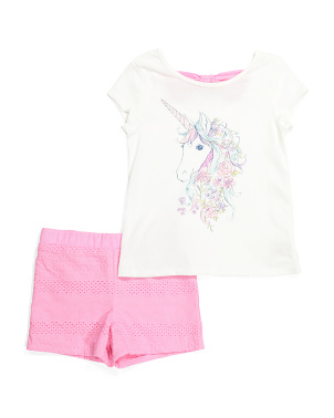 Girls 2pc Unicorn Eyelet Short Set