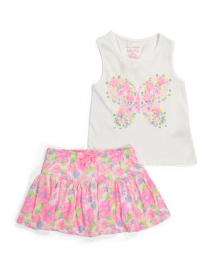 Girls 2pc Sequin Butterfly Skort Set