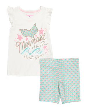 Girls 2pc Mermaid Hair Bike Short Set