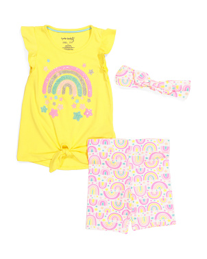 Girls 2pc Rainbow Bike Short Set