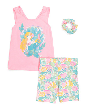 Girls 2pc Mermaid Shell Bike Short Set
