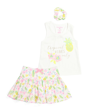 Girls 2pc Tropical Vibes Skort Set