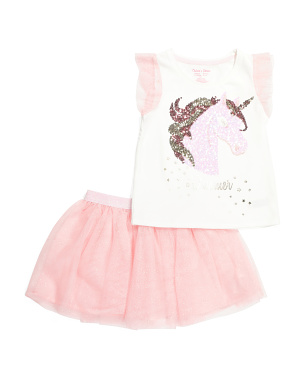 Girls 2pc Unicorn Mesh Skirt Set