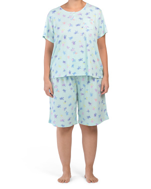 Plus Turtle Medley Bermuda Shorts Pj Set