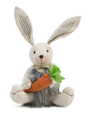 15in Decorative Bunny Holding Carrot