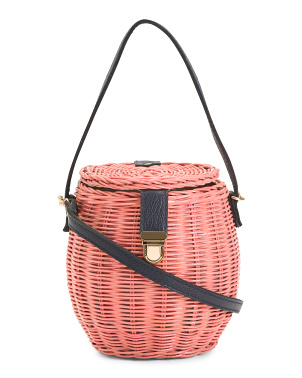 Hand Woven Wicker Basket Barrel Bag