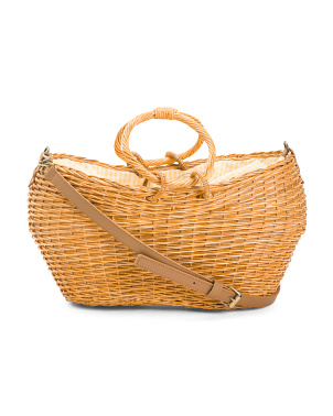 Hand Woven Round Top Handle Wicker Satchel