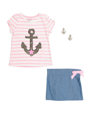 Girls 2pc Anchor Skort Set
