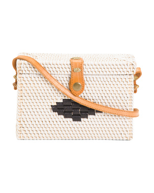 Box Rattan Bag With Leather Trim