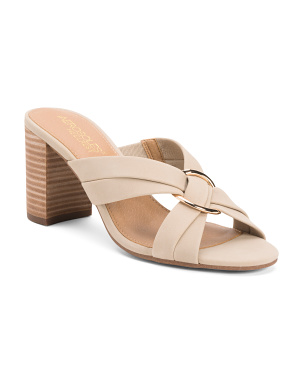 Leather Comfort Stacked Heel Sandals