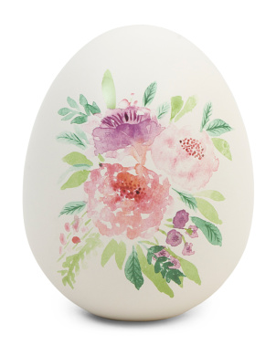 6in Dolomite Egg With Floral Decal