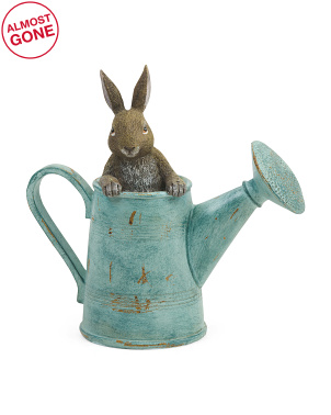9.5in Resin Bunny In Watering Can