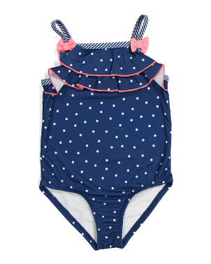 Little Girls One-piece Ruffle Polka Dot Swimsuit