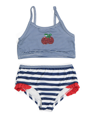 Little Girls 2pc Sequin Cherry Swimsuit