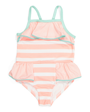 Little Girls One-piece Striped Peplum Swimsuit