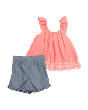 Little Girls Embroidered Denim Short Set