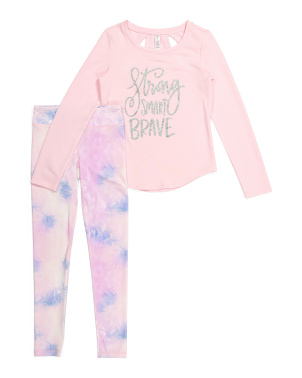 Big Girls 2pc Strong Smart Brave Legging Set