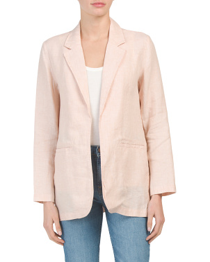 Cross Dye Linen Blend Blazer With Front Welt Pockets