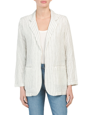 Linen Blend Striped Blazer With Front Welt Pockets