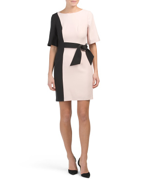 Petite Color Block Side Tie Sheath Dress