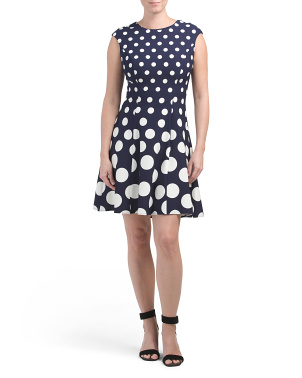 Petite Cap Sleeve Fit And Flare Polka Dot Dress