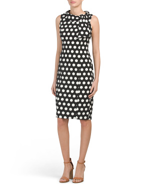 Petite Polka Dot Sleeveless Dress With Tie Neck