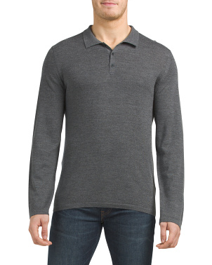 Wool Cashmere Long Sleeve Polo Sweater