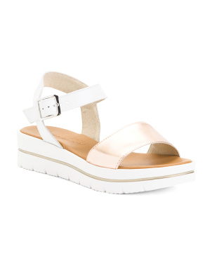 Made In Italy Metallic Sport Bottom Leather Sandals
