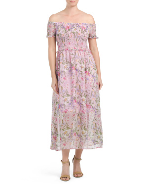 Off The Shoulder Smocked Floral Midi Dress