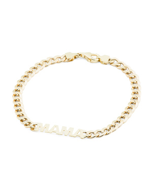 Made In Italy 14k Gold Mama Curb Chain Bracelet