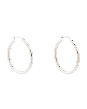Made In Italy 14k White Gold Hoop Earrings