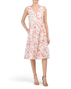 Linen Cajun Floral Button Front Midi Dress