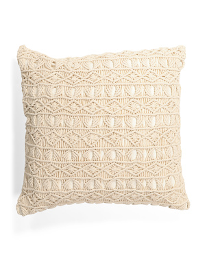 22x22 Hand Knit Macrame Pillow