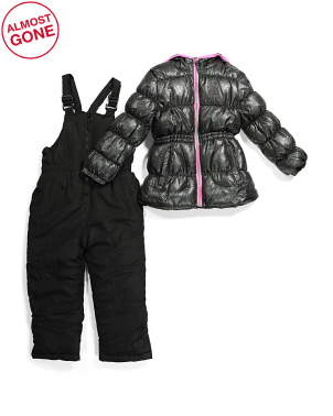 Little Girls Glitter Snowsuit With Full Bib
