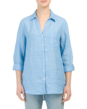 Cross Dye Collared Button Front Linen Top