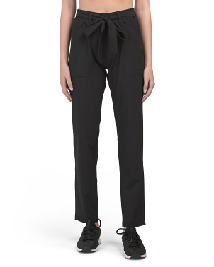 Stretch Woven Tie Waist Pants