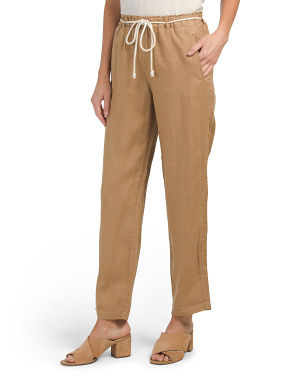 Pigment Dyed Linen Paperbag Waist Pants